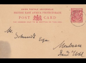 British East Africa: post card to Mombasa