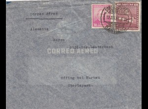 1937: air mail Santiago to Uffing/Murnau, Germany