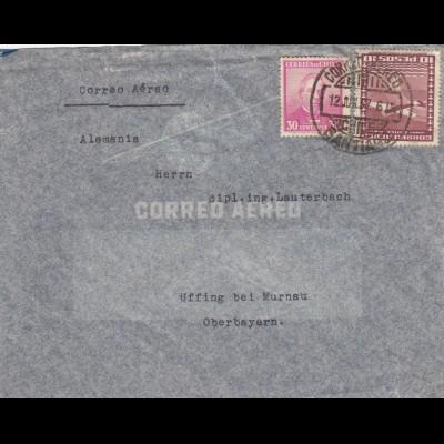 1937: air mail Santiago to Uffing/Murnau, Germany