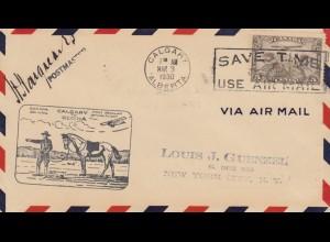 1930: Calgary/Alberta to New York, Horse, First Flight