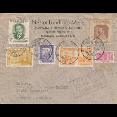 1919: letter from Manizales, Cali to Berlin/Heidenheim