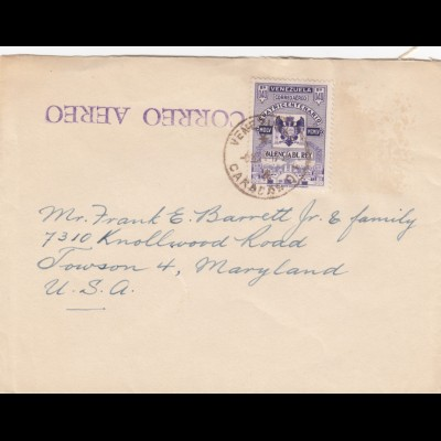 air mail Caracas to Towson, Maryland
