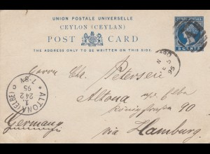 1895: post card Colombo to Hamburg