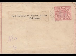 1890: Wrapper Victoria to Melbourne
