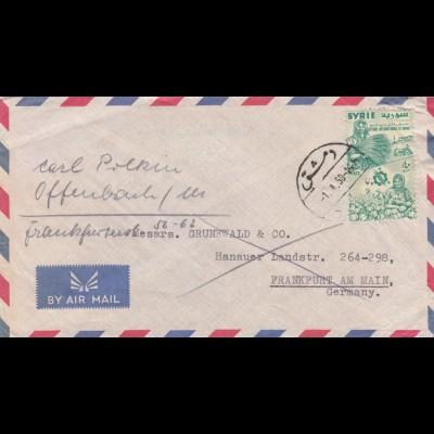 letter air mail 1958 Damascus to Frankfurt