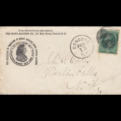 3x Letter 1881 from Concord, St. Johnsbury, Beresford to Berlin