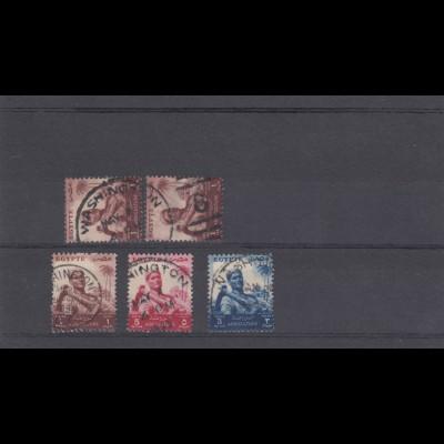 5 stamps Egypt Washington 1955