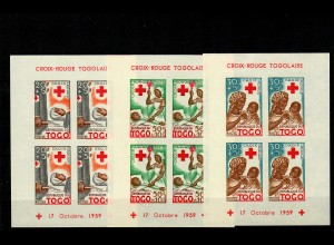 3x block 17.10.1959, mnh, **, Red Cross Togo