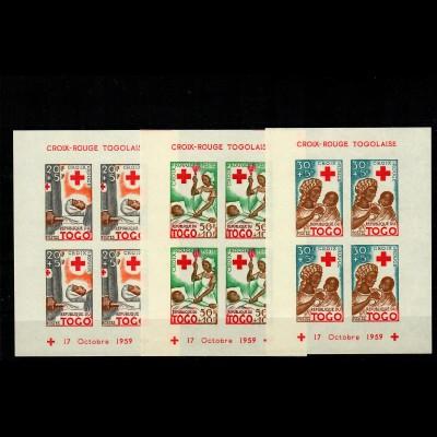 3x block 17.10.1959, mnh, **, Red Cross Togo