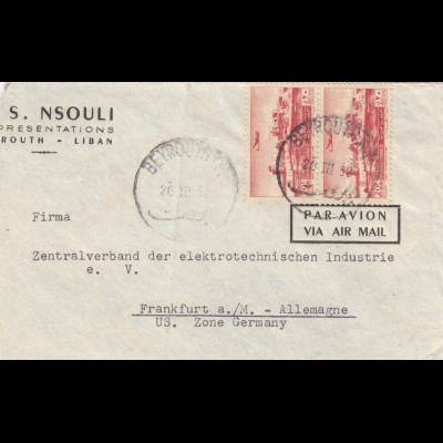 letter air Mail Beyrouth to Frankfurt 1952