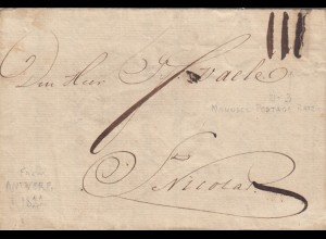 Antwerpen 1822: letter to Nicolas, with text