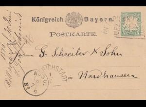 Ganzsache 1876 von Mellrichstadt nach Hardhausen, leichter Bug