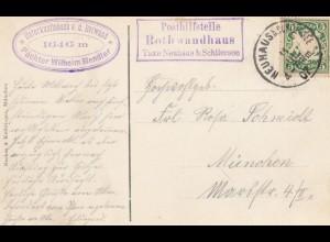 Ansichtskarte 1907 Posthilfsstelle Rothwandhaus/Neuhaus/Schliersee nach München