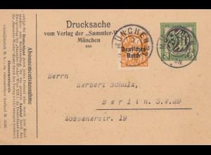 Drucksache Postkarte München 1921 nach Berlin