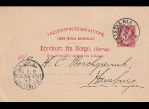 post card 1893 Kristiana to Hamburg