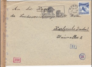 1943: Basel to Karlsruhe, censor