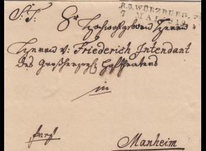 Würzburg Brief von 1819 nach Mannheim