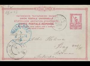 2x post cards 1900/1901 to Prag