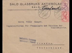 letter 1919 Salo to Dresden, censor Finland