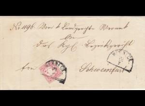 Brief von Werneck nach Schweinfurt mit Text