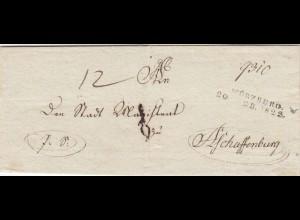 Brief von Würzburg 1822 nach Aschaffenburg