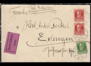 Eilboten Brief München nach Erlangen, Trauerbrief