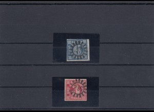MiNr. 9 und 10, gestempelt Mühlradstempel 578 Wernberg