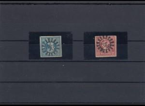 MiNr. 2 und 9, gestempelt Mühlradstempel 565 Weidenberg