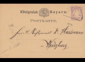 Postkarte 1879 von Karlstadt nach Würzburg