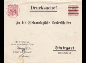 Ganzsachenumschlag von Sternenfels 1912 nach Stuttgart, Meteorologische Station