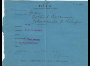 Rückschein Neckarstulm nach Öhringen 1916