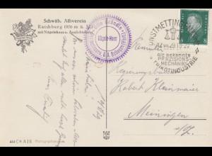 Ansichtskarte Raichberg, Schwäb. Albverein 1929 Unstmettingen nach Meiningen