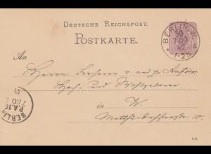 Ganzsache 1892 von Berlin