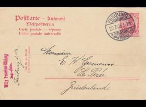Ganzsache Freiburg 1905 nach Le Pirée, Griechenland