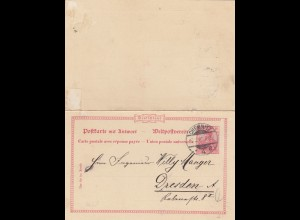 Ganzsache Chemnitz 1902 nach Dresden mit unbenutzter Antwortkarte