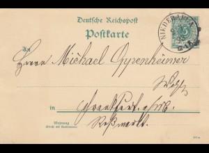 Ganzsache 1893 Niederaula nach Frankfurt