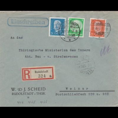 Einschreiben Rudolstadt 1932 nach Weimar