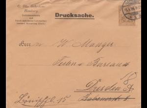 Drucksache Ganzsache, Ledermanschetten Hamburg nach Dresden, Privatpost 1904