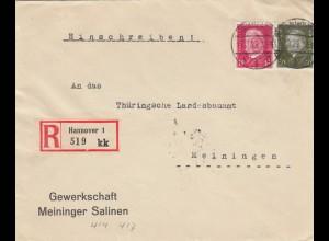 Einschreiben Hannover, Salinen Gewerkschaft 1929 nach Meiningen