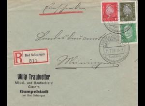 Einschreiben Bad Salzungen, Glaserei/Tischlerei 1929 nach Meiningen