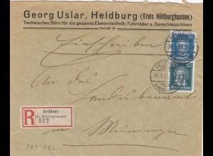 Einschreiben Heldburg/Hilburghausen nach Meiningen, Fahrräder/Sprechmaschinen