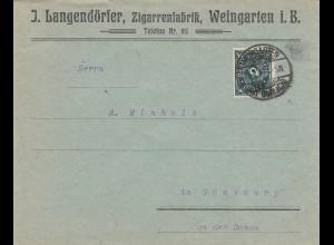 Brief Zigarrenfabrik Weingarten nach Günzburg