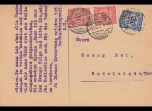 Postkarte Naumburg 1923 nach Rudolstadt