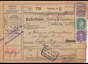 Auslandspaketkarte 1927 von Hamburg nach Liége/Belgien