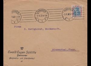 Brief 1922 aus Hannover nach Blumenthal, rückseitig Firmenwerbung Schrauben