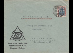 Brief 1922 aus Düsseldorf, Farbenfabrik nach Berlin