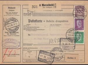 Paketkarte 1930 von Solingen/Merscheid nach Antwerpen über Aachen