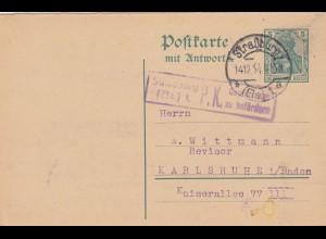 3x Ganzsache Strassburg/Elsass, 1914, 1941