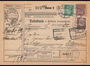 Auslandspaketkarte 1932 Essen nach Liège / Belgien