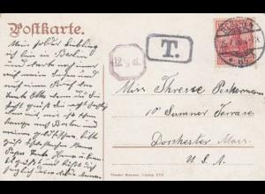 Ansichtskarte Berlin Siegessäule 1908 nach Dorchester, Taxe